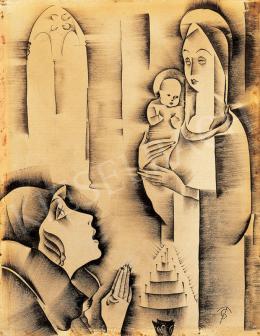 Molnár C. Pál - Kalapos nő madonnaszoborral, 1920-as évek