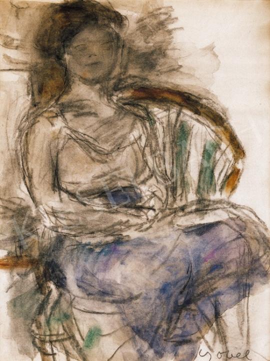 Czóbel Béla - Kékszoknyás lány legyezőfotelban | 20. Aukció aukció / 46 tétel