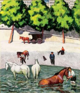 Huzella Pál - A párizsi Szajna-part, 1914