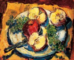 Basch Andor - Őszi csendélet almával, szőlővel