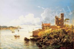 Györök Leó - Romantikus tengerparti táj vitorlással, 1883